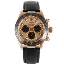 Rolex Daytona Automatic Rose Gold Case Ceramic Bezel with Champagne Dial Black Leather Strap