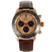 Rolex Daytona Automatic Rose Gold Case Ceramic Bezel with Champagne Dial Brown Leather Strap