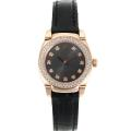 Rolex Cellini Rose Gold Case Diamond Bezel and Markers with Black Dial Leather Strap-1