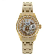 Rolex Masterpiece Swiss ETA 2671 Movement Full Gold Diamond Bezel Roman Markers with White MOP Dial Flowers Illustration