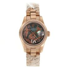 Rolex Datejust Automatic Full Rose Gold Roman Markers with MOP Dial Flowers Illustration-2