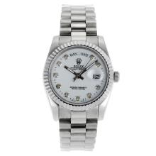 Rolex Day-Date Automatic Diamond Markers with White Dial Sapphire Glass-3