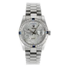 Rolex Day-Date Automatic Diamond Bezel with diamond carved Dial Sapphire Glass-1