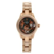 Rolex Datejust Automatic Full Rose Gold Roman Markers with MOP Dial Flowers Illustration