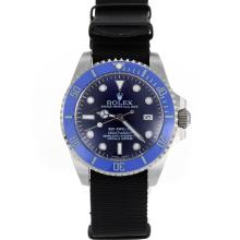 Rolex Sea Dweller Automatic Blue Ceramic Bezel and Dial with Nylon Strap-Sapphire Glass