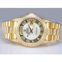 Rolex Day-Date Automatic Full Gold with Diamond Bezel and Marking-MOP Dial