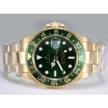 Rolex GMT-Master II Automatic Working GMT Full Gold with Green Bezel and Dial