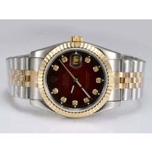 Rolex Datejust Automatic Two Tone with Diamond Marking-Red Dial