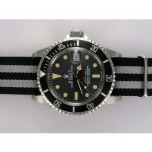 Rolex Submariner Automatic with Black Dial and Bezel-Nylon Strap Vintage Edition
