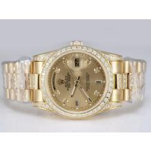 Rolex Day-Date Automatic Full Gold with Diamond Bezel-Golden Dial