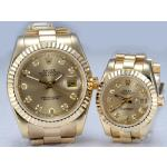 Rolex Datejust Automatic Full Gold Diamond Markers with Golden Dial-Couple Watch