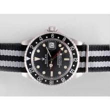 Rolex GMT-Master Automatic Working GMT Black Dial and Bezel with Nylon Strap Vintage Edition