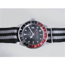 Rolex GMT-Master Automatic Working GMT Black Dial with Nylon Strap-Black with Red Bezel Vintage Edition
