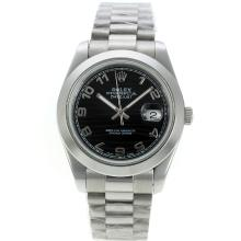 Rolex Datejust II Automatic Number Markers with Black Waved Dial S/S