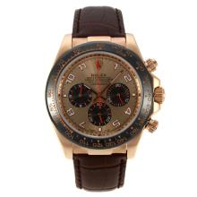 Rolex Daytona Working Chronograph Rose Gold Case Ceramic Bezel with Golden Dial Number Markers-Leather Strap