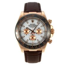 Rolex Daytona Working Chronograph Rose Gold Case Ceramic Bezel with White Dial Stick Markers-Leather Strap