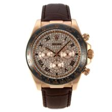 Rolex Daytona Working Chronograph Rose Gold Case Ceramic Bezel Roman Markers with Diamond Dial Leather Strap