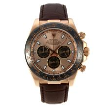 Rolex Daytona Working Chronograph Rose Gold Case Ceramic Bezel with Golden Dial Stick Markers-Leather Strap