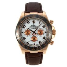 Rolex Daytona Working Chronograph Rose Gold Case Ceramic Bezel with White Dial Number Markers-Leather Strap
