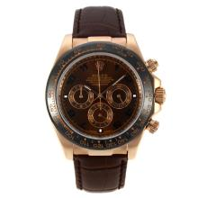 Rolex Daytona Working Chronograph Rose Gold Case Ceramic Bezel with Brown Dial Number Markers-Leather Strap