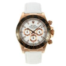 Rolex Daytona Working Chronograph Rose Gold Case Ceramic Bezel with White Dial Leather Strap