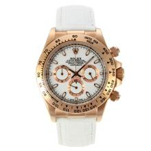 Rolex Daytona Working Chronograph Rose Gold Case with White Dial Leather Strap