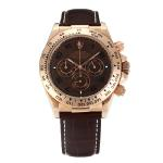Rolex Daytona Working Chronograph Number Markers Rose Gold Case with Brown Dial Leather Strap