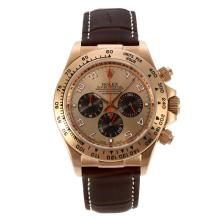 Rolex Daytona Working Chronograph Number Markers Rose Gold Case with Rose Gold Dial Leather Strap