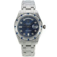 Rolex Masterpiece Automatic CZ Diamond Bezel with Blue Dial Diamond Markers S/S Same Chassis as ETA Version
