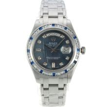 Rolex Masterpiece Automatic CZ Diamond Bezel with Blue MOP Dial Diamond Markers S/S Same Chassis as ETA Version