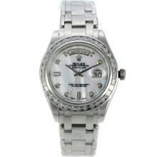 Rolex Masterpiece Automatic CZ Diamond Bezel with White MOP Dial Diamond Markers S/S Same Chassis as ETA Version
