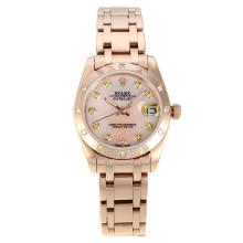 Rolex Masterpiece Automatic Full Rose Gold with Pink MOP Dial Diamond Bezel and Markers