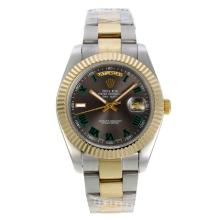 Rolex Day-Date II Automatic Two Tone Green Roman Markers with Gray Dial
