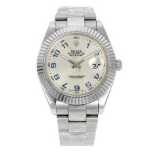 Rolex Datejust II Swiss ETA 2836 Movement Blue Number Markers with Silver Dial