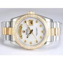 Rolex Day-Date Automatic Two Tone with Diamond Bezel and Marking-White MOP Dial