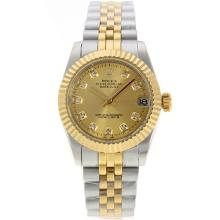 Rolex Datejust Automatic Two Tone Diamond Markers with Golden Dial Sapphire Glass-1
