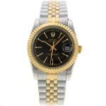 Rolex Datejust Automatic Two Tone Stick Markers with Black Dial Sapphire Glass