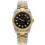 Rolex Datejust Automatic Two Tone Diamond Markers with Black Dial Sapphire Glass