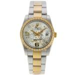 Rolex Datejust Automatic Two Tone Diamond Bezel with Silver Floral Motif Dial Sapphire Glass