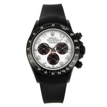 Rolex Daytona Chronograph Swiss Valjoux 7750 Movement PVD Bezel with White Dial Rubber Strap-Sapphire Glass