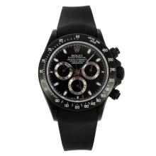 Rolex Daytona Chronograph Swiss Valjoux 7750 Movement PVD Case Stick Markers with Black Dial Black Rubber Strap