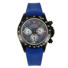 Rolex Daytona Chronograph Swiss Valjoux 7750 Movement PVD Case Roman Markers with MOP Dial Blue Rubber Strap