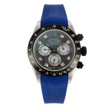 Rolex Daytona Chronograph Swiss Valjoux 7750 Movement PVD Bezel Diamond Markers with MOP Dial Blue Rubber Strap