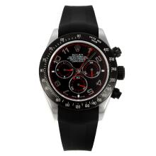 Rolex Daytona Chronograph Swiss Valjoux 7750 Movement PVD Bezel with Black Dial Black Rubber Strap