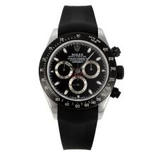 Rolex Daytona Chronograph Swiss Valjoux 7750 Movement PVD Bezel with Black Dial Rubber Strap