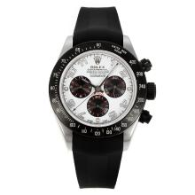 Rolex Daytona Chronograph Swiss Valjoux 7750 Movement PVD Bezel with White Dial Rubber Strap