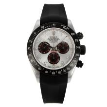 Rolex Daytona Chronograph Swiss Valjoux 7750 Movement PVD Bezel with Silver Dial Rubber Strap