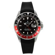 Rolex GMT-Master II Swiss ETA 2836 Movement Black/Red Bezel with Black Dial Rubber Strap