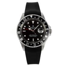 Rolex GMT-Master II Swiss ETA 2836 Movement Black Bezel with Black Dial Rubber Strap
