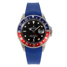 Rolex GMT-Master II Swiss ETA 2836 Movement Blue/Red Bezel with Black Dial Blue Rubber Strap